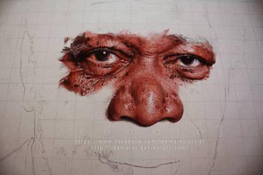 Ballpoint pen Portrait - Morgan Freeman WIP 2 by leemarej