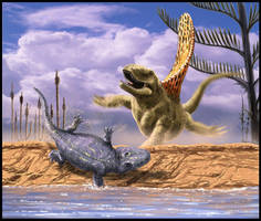 Dimetrodon vs Eryops by dustdevil