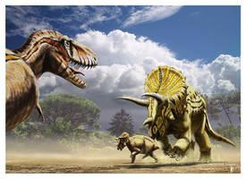 Tyrannosaurus vs Triceratops by dustdevil