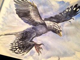 Flying Microraptor by dustdevil