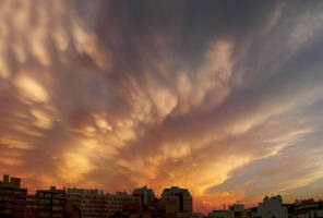 Sunset and thunderstorm by dustdevil