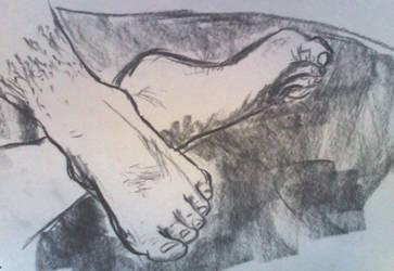 Feet Life Drawing by Kezzamin