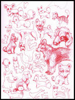 sketchy red animals by veeae