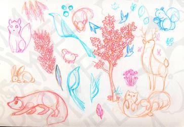 Nature Cartoon Sketches by sampdesigns