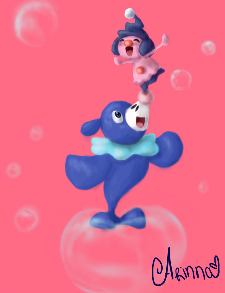 Pokemon - Popplio and Mime jr by Arinna1 on DeviantArt d7d2d1fe7ee7