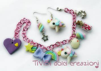 Rainbow Pegasus Bracelet and Earrings by tivibi