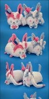 Stacking Plush: Small Sylveon and Shiny Sylveon by Serenity-Sama