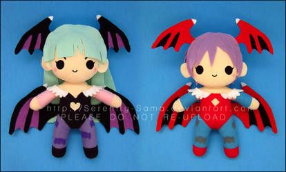 Chibi Morrigan and Lilith - Darkstalkers by Serenity-Sama