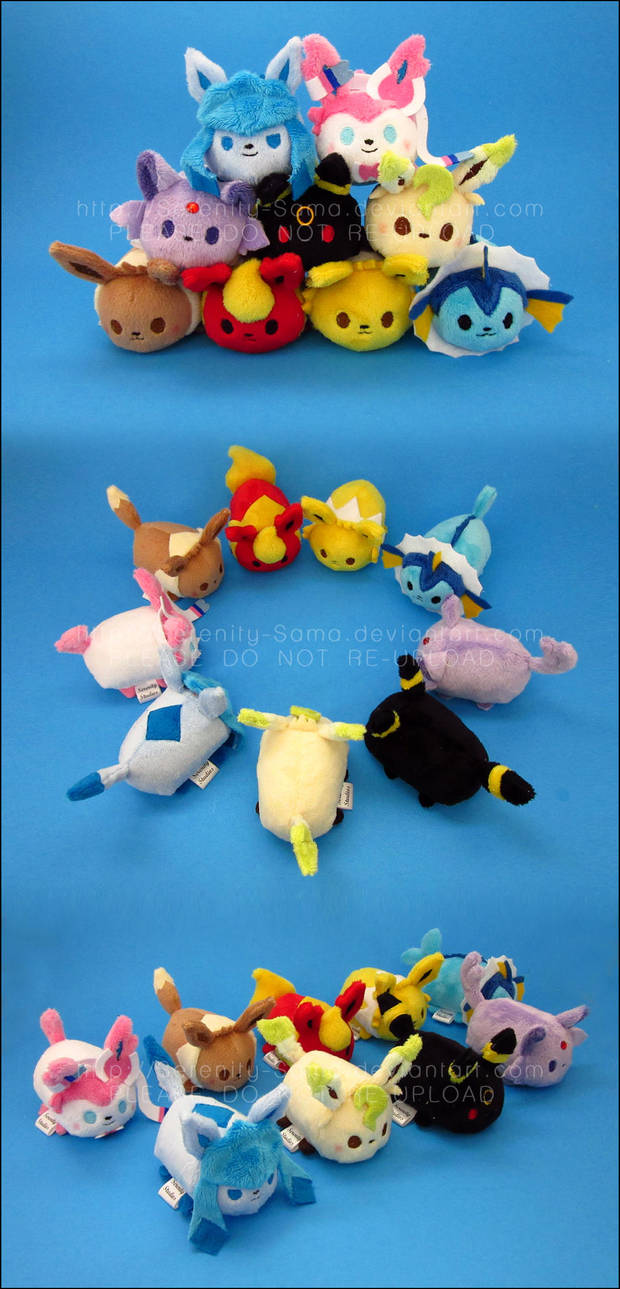 Stacking Plush: Mini Eevee + Eeveelutions by Serenity-Sama