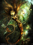 Mermaid with fireflies by senyphine