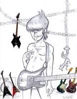 Murdoc in the Guitar Room by GhettoRainbowCat