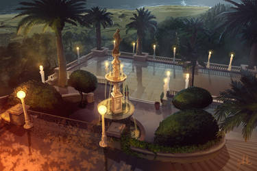 San Simeon Patio by chateaugrief