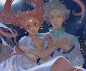 Gelios and Chibi moon by Ariru-chi