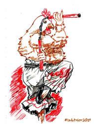 Inktober Day 5: Chicken Monk. by timberking