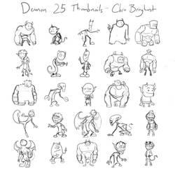 Demon Character Design Thumbnails by captainslam