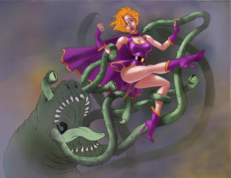 Superheroine and Tentacle Demon Redeux more by thefooltouchstone