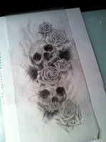 Skulls and roses sketch by CalebSlabzzzGraham