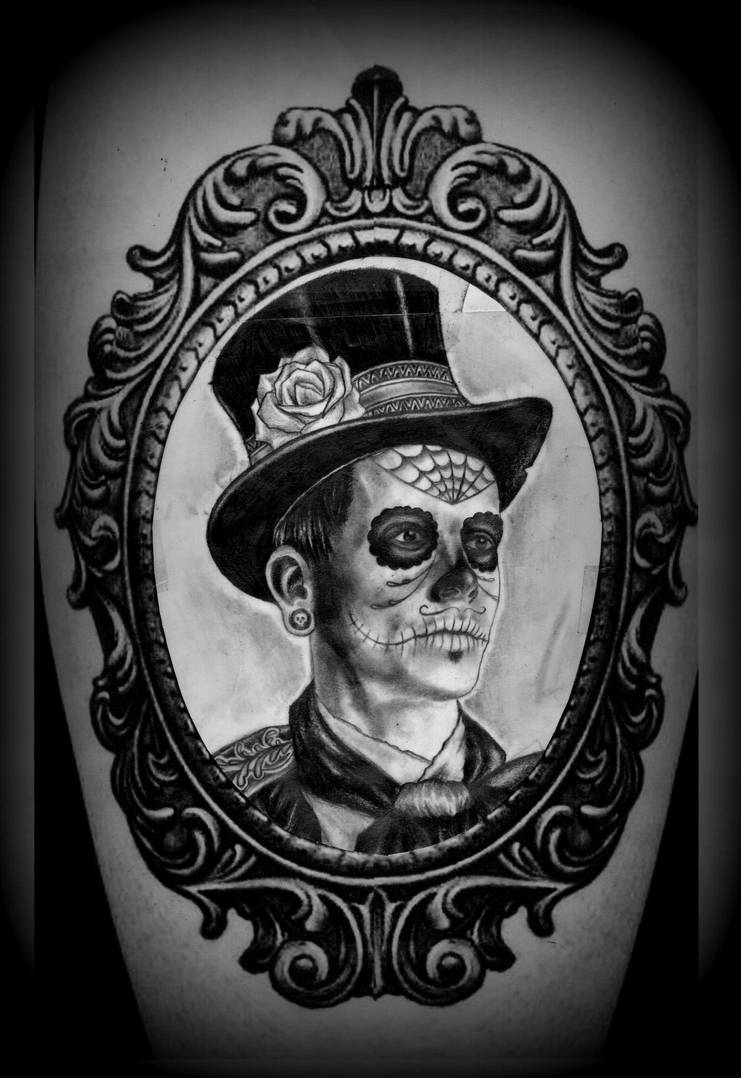 Day Of The Dead Man In Frame Tattoo Design By Calebslabzzzgraham On