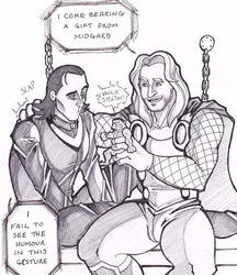 Thor and Loki - Cheer up! by puking-mama