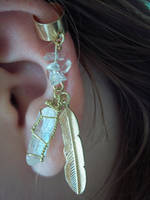 Feathers and Sparkles Ear Cuff by helendeesartistries