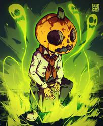 Pumpkin man playing a cajon by KetsuoTategami