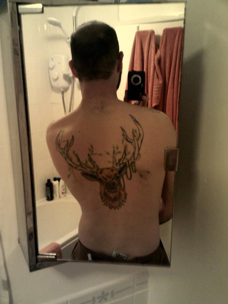 Stag's head back tattoo by extondude