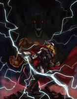 Thor and Thing vs Fafnir by charro-art