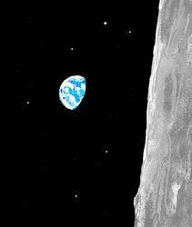 earth from moon orbit (mspaint) by arttrysted