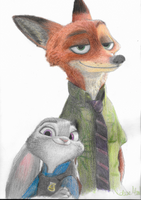 Zootopia- Nick and Judy by StarvedFox