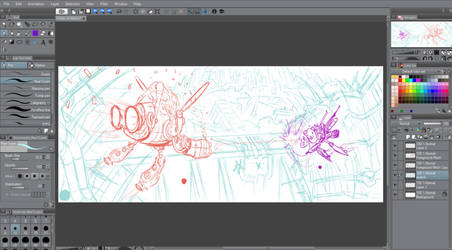 WIP of  'chicks on mechs' by AOPaul