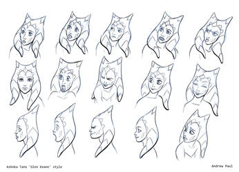 Ashoka Tano facial expression sheet. by AOPaul