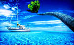 Beautiful Boat and Crystal Clear Light Blue Water by ROGUE-RATTLESNAKE