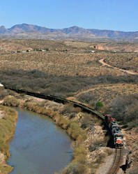 Rio Grande Freight Train Alongside a River by ROGUE-RATTLESNAKE