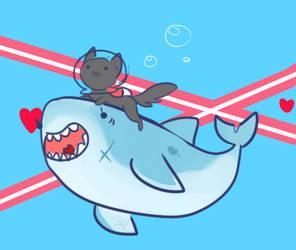Shark And Cat by Mini-Tea