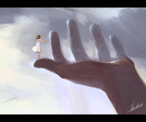 girl on giant hand by tobiee