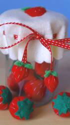 Felt strawberries in a jar by MyRabbitHut