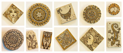 Collage Wood Burned Hangers by bgerr