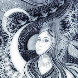 pen and ink drawing girl by bgerr