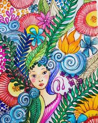 watercolour flower girl by bgerr