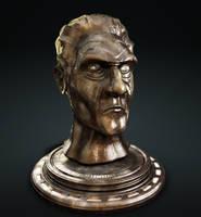 A bronze sculpted head by Pallacium
