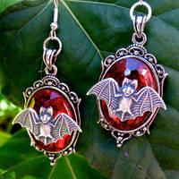 Bat Pendant Earrings by Horribell