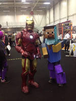 Posing with minecraft cosplay at DCC by jonny3777