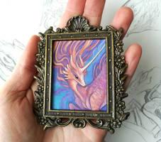 Framed mini painting - Sunset Kirin by thedancingemu