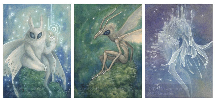 ACEOs: Faeries by thedancingemu