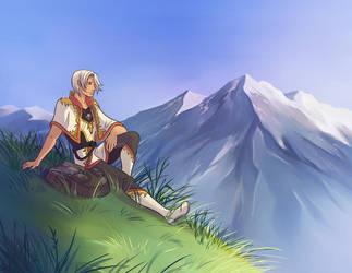 Relaxing on a grassy hill by Azzedar-san