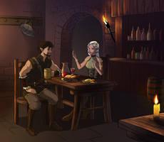 Sitting in tavern by Azzedar-san
