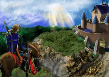 Chevalier sur une falaise by Nicolaspok