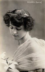 Vintage lady with flowera 0001 by MementoMori-stock