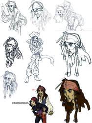 anothe Sparrow Sketch Dump by spaztic-demon