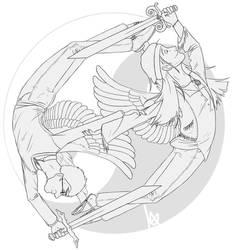 yin-yang Angels -line- by MickusTheDutch